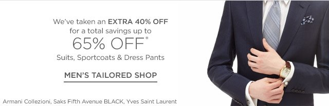Up to 65% off Men's Tailored Shop