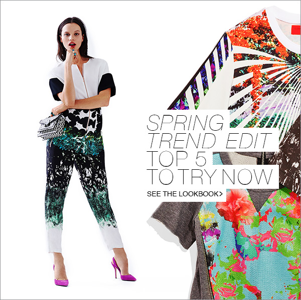 Update your wardrobe with our edit of the top five trends for spring 2014. Shop Now!
