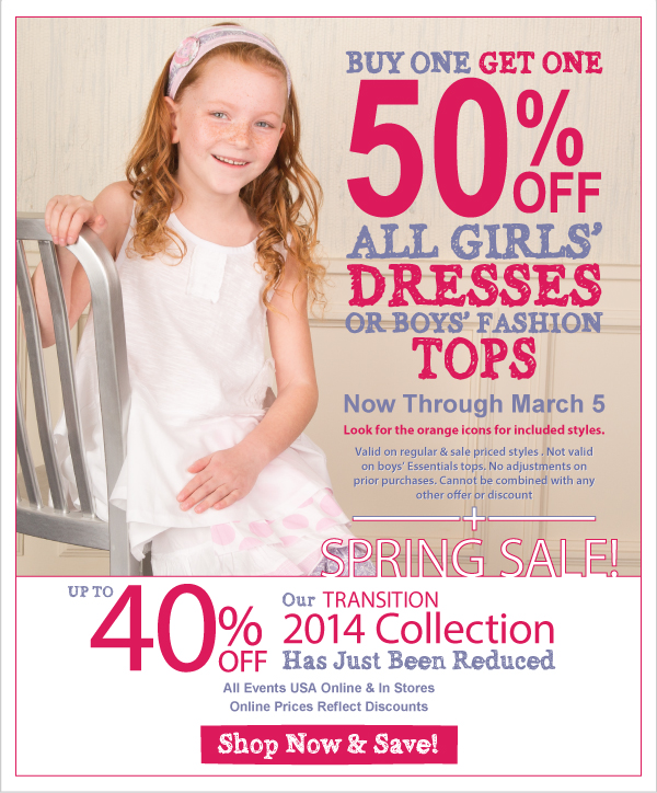 BOGO 50% Off All Dresses & Boys' Fashion Tops + Spring Sale! Up to 40% Off - Transition Fashions Just Reduced