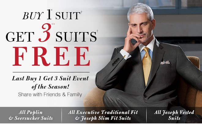 Buy 1* Suit Get 3** Suits FREE