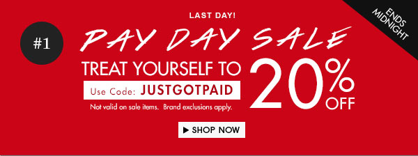 It's Pay Day Sale! Get 20% off!
