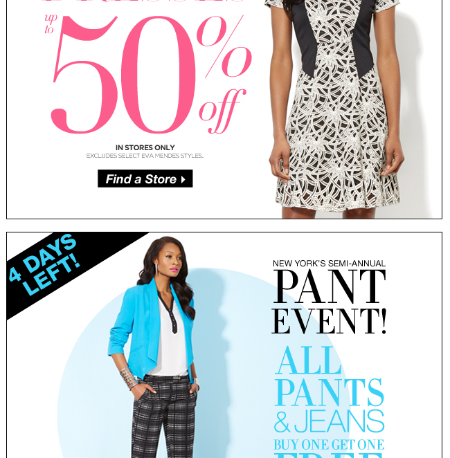 All Dresses Up to 50% Off + B1G1 FREE Pants & Jeans!