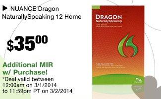 NUANCE Dragon NaturallySpeaking 12 Home 35.00 usd - Enter EMCYTZT5792 at checkout