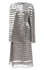 Asymmetrical Ribbon Cape Dress with Bugle Bead Paisley Motif