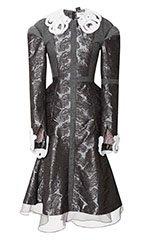 Paneled Cross Dress with Crochet Mink Trim