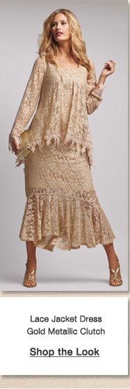 Lace Jacket Dress Gold Metallic Clutch