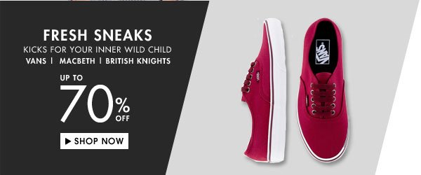 Up to 70% off sneakers!