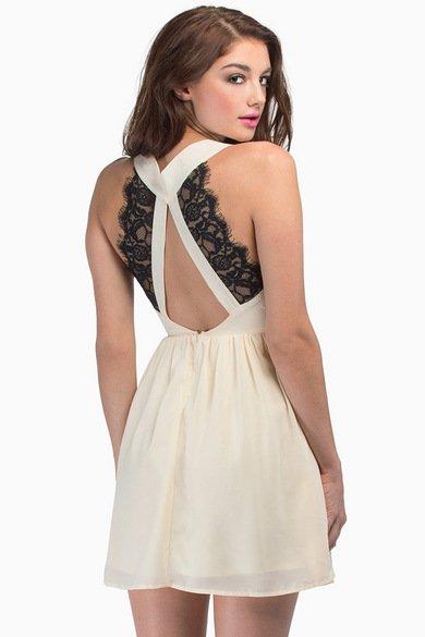 Deep V Lace Back Dress 35