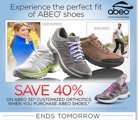Ends tomorrow! Enjoy a FREE Digital Foot Analysis at any of our 200+ nationwide stores to experience the perfect fit of ABEO shoes and save 40% on customized 3D3 orthotics with any ABEO shoe purchase!* Shop now to find the best selection online and in stores at The Walking Company.