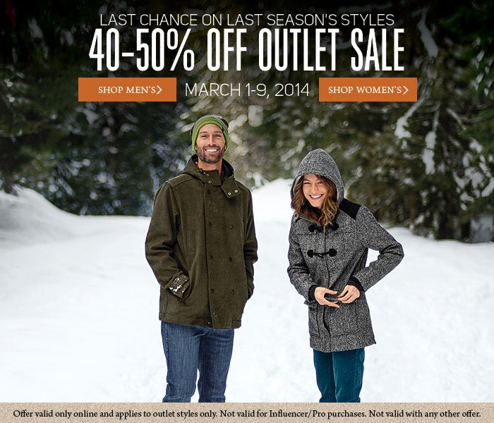 40-50% Off Outlet Sale