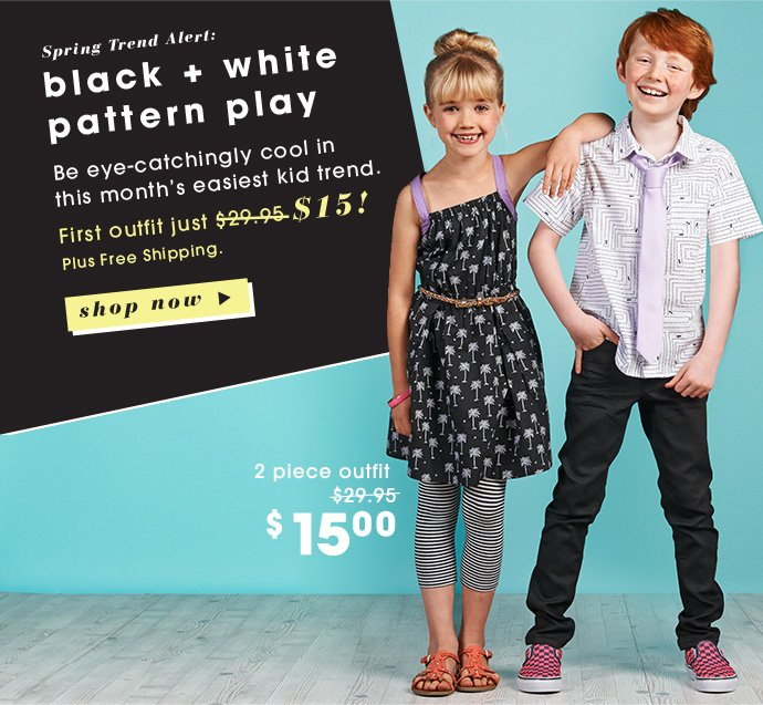 Black & White Pattern Play + First Outfit $15!