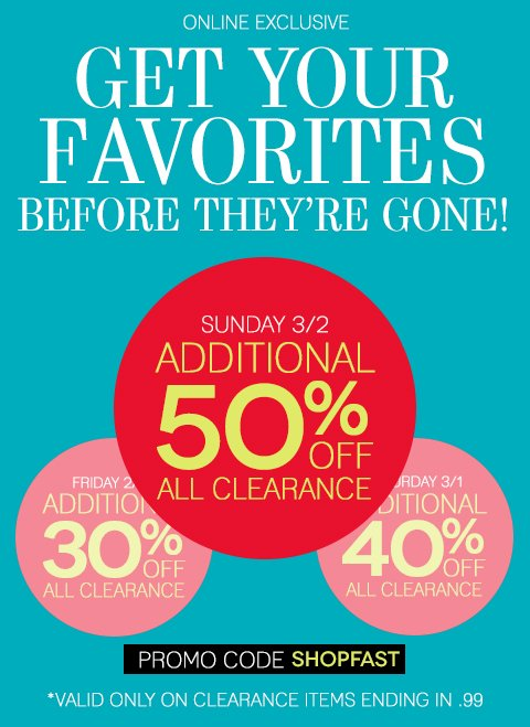 LAST DAY TO SAVE BIG! 50% off All Clearance Today Only. Shop EARLY for the best selection.
