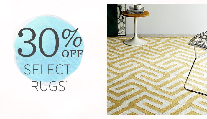 30% off select rugs*