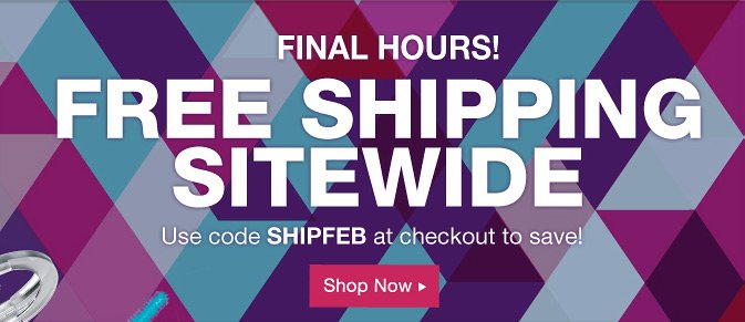 FINAL HOURS: Free Shipping Sitewide Use Code SHIPFEB at checkout and save!