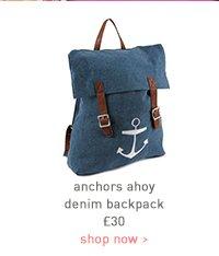 anchors ahoy denim backpack