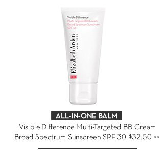 ALL-IN-ONE BALM. Visible Difference Multi-Targeted BB Cream Broad Spectrum Sunscreen SPF30, $32.50.