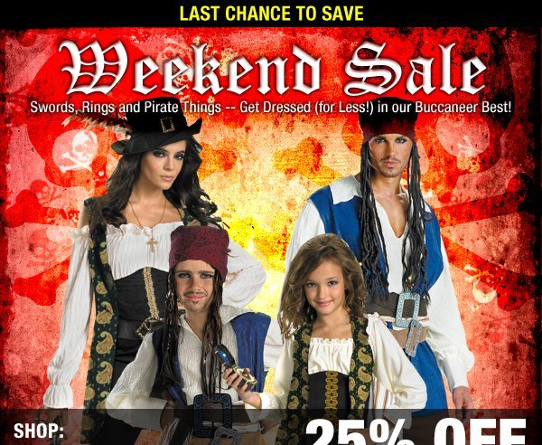 Weekend Sale - Swords, Rings and Pirate Things -- Get Dressed (for Less!) in our Buccaneer Best!