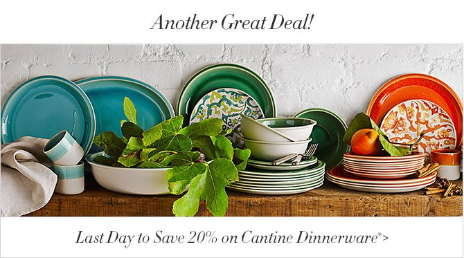 Another Great Deal! - Last Day to Save 20% on Cantine Dinnerware*