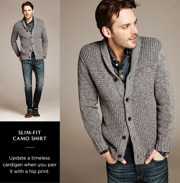 SLIM-FIT CAMO SHIRT | Update a timeless cardigan when you pair it with a hip print.