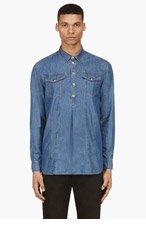 BALMAIN Blue Denim Pullover Shirt for men