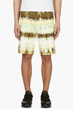 MSGM Yellow & Green Tie-Dyed Stripe shorts for men
