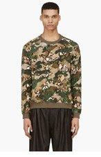 MSGM Green Python-Camo Print Sweater for men