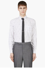 THOM BROWNE White Anchor & Stripe Print Shirt for men