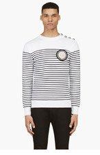 BALMAIN White & Black Lion Patch Mariner Sweater for men