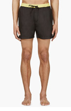 MSGM Navy & Yellow Floral-trimmed swim shorts for men