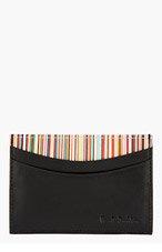 PAUL SMITH Black Leather Multi-Stripe Cardholder for men