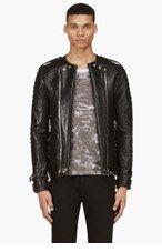 BALMAIN Black Lambskin Overlong Biker Jacket for men