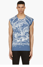 BALMAIN Navy Anchor Print T-Shirt for men