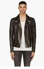 BALMAIN Black Lambskin Laced Sleeve Biker Jacket for men