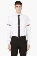THOM BROWNE White Signature Striped Shirt for men