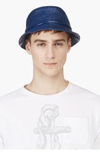 THOM BROWNE Navy Waxed Cotton Tilley Hat for men