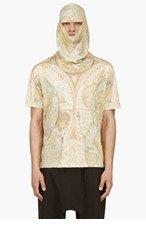 KTZ Yellow Digital Map Print Mask T-shirt for men