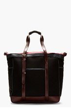 PAUL SMITH Black & Burgundy Mesh & Leather Tote for men