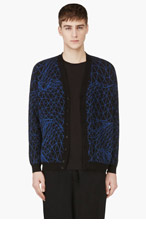 CHRISTOPHER KANE Black & Blue Printed Knit Cardigan for men