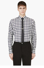 THOM BROWNE Navy Shperherd's Check & Anchor Print shirt for men