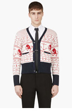 THOM BROWNE White Nautical Pattern Y-Front Cardigan for men
