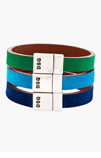 DSQUARED2 Green, Navy, & Turquoise Suede Bracelets for men