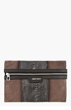 JIMMY CHOO Taupe Suede & Patent PYTHON Stafford POUCH for men