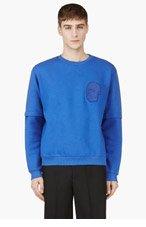 CHRISTOPHER KANE Blue Applique Convertible Sleeve Sweatshirt for men