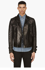 BALMAIN Black Lambskin Biker Jacket for men
