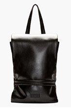 RAD BY RAD HOURANI Black Leather Foldover Flap Backpack for men