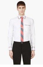 THOM BROWNE White Tri-Color Trim Shirt for men