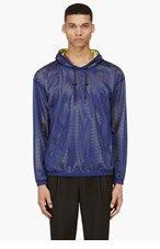 MSGM Navy & Yellow Mesh hoodie for men
