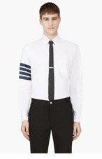 THOM BROWNE White Grosgrain Trim Shirt for men