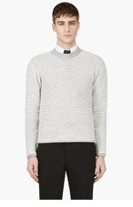 THOM BROWNE Grey & White Anchor Mariner's Sweater for men