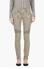 BALMAIN Grey ribbed & reinforced biker Jeans for women